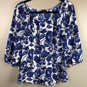 Ann Taylor | Blue Floral Tunic Size S